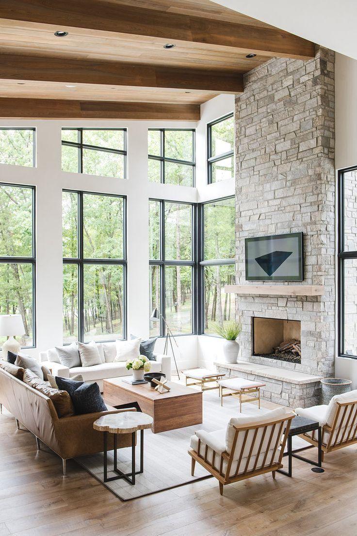 Modern Lake House Wohnzimmer Tour Texas Hill Country Inspiration Landschaft Farm House Living Room Modern Lake House Rustic Living Room