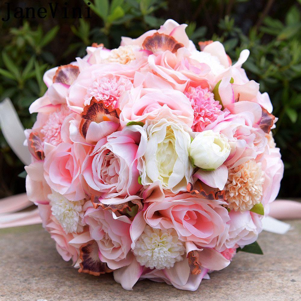 Wedding Flowers Bridal Bouquet Prices: JaneVini Decoration Mariage Crystal Pink Wedding Bouquet