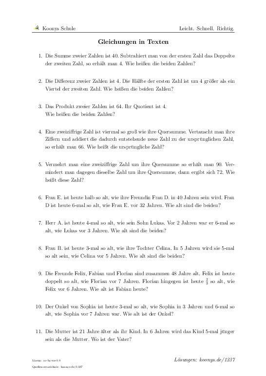 Gleichungen in Texten | Aufgaben mit Lösungen und Videoerklärungen ...
