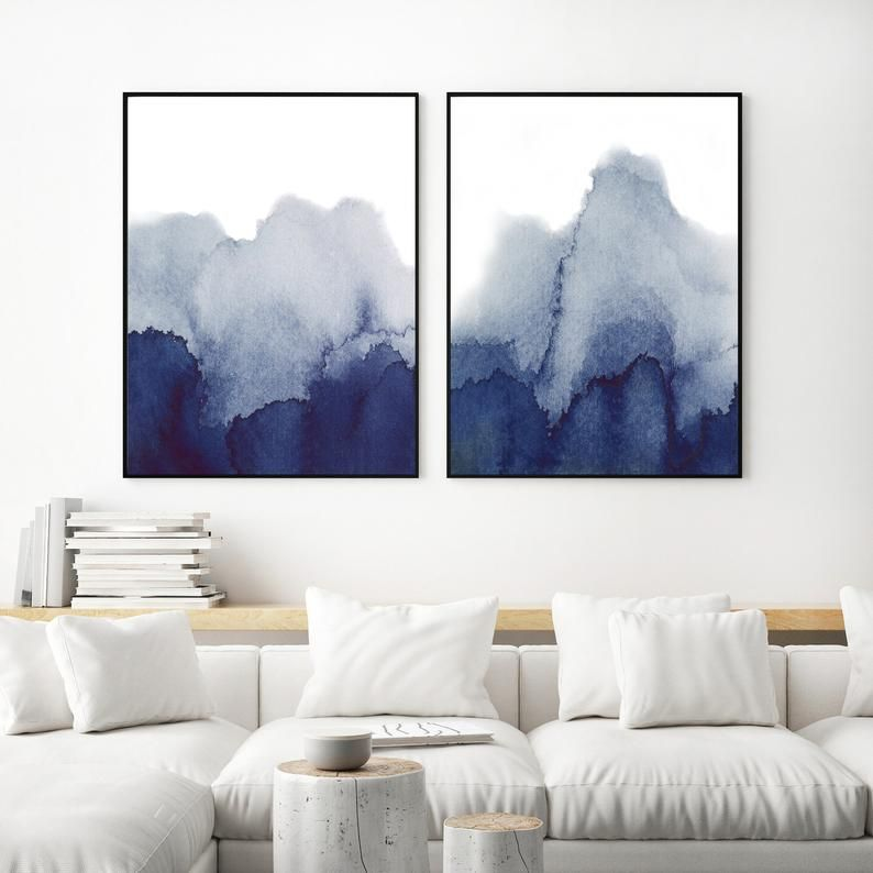 Blue Watercolor Wall Art Prints Set Of 2 Navy Blue Printable Etsy In 2021 Wall Art Sets Living Room Living Room Art Watercolor Wall Art