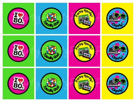 INSTANT DOWNLOAD Printable 80s Cupcake Toppers Tags – 80s Party Invitations Template Free