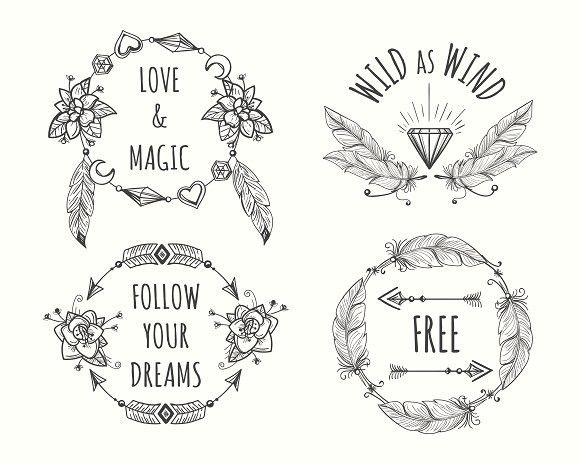 Boho tribal logo set with feathers Wedding card templates Card