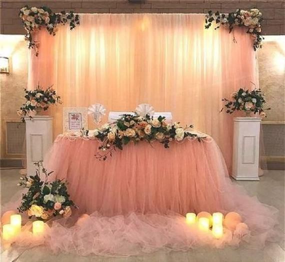 Double Extra Long Tutu Tull Table Skirt Long Tulle Table
