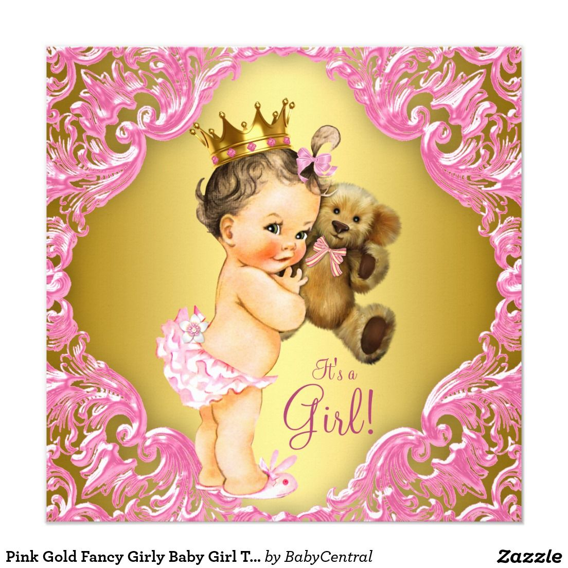 Pink Gold Princess Bear Baby Shower Invitations | Teddy bear, Bears ...