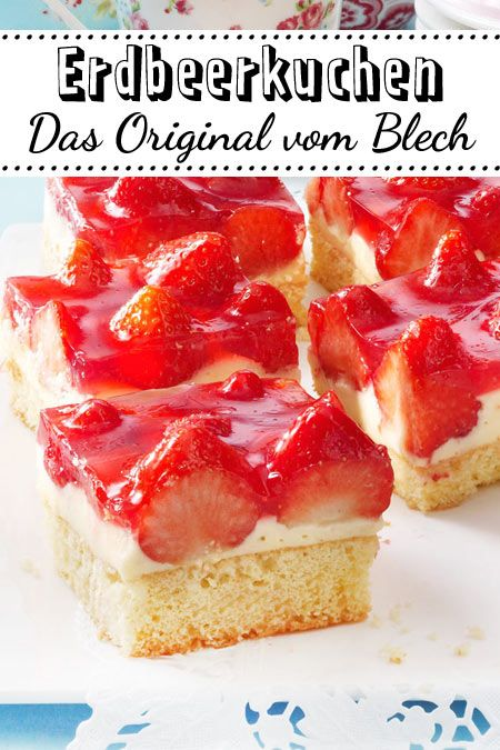 erdbeerkuchen vom blech das klassische rezept mit pudding kuchen erdbeerkuchen kuchen und. Black Bedroom Furniture Sets. Home Design Ideas