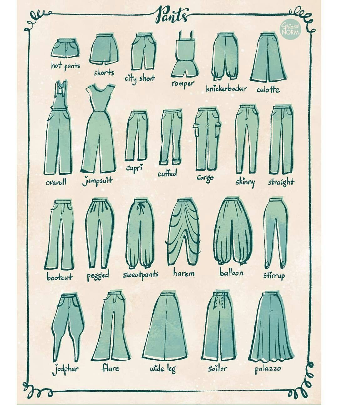 Different type of pants clothes in pinterest drawings