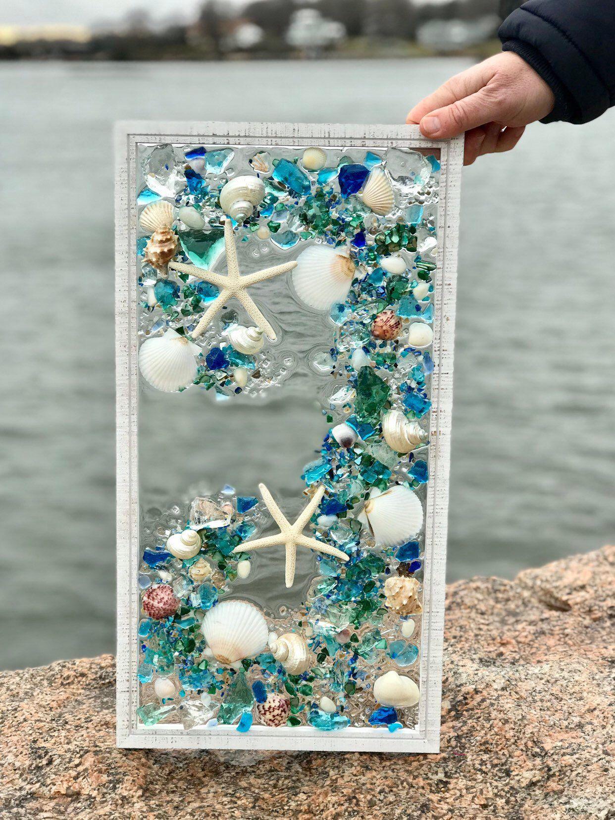 Beach glass coastal window 21x 11 mixed media sea glass