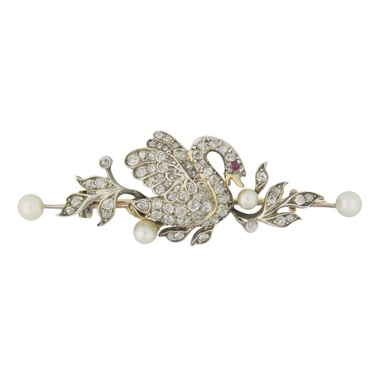 A LATE VICTORIAN DIAMOND AND PEARL SWAN BROOCH - Bentley & Skinner