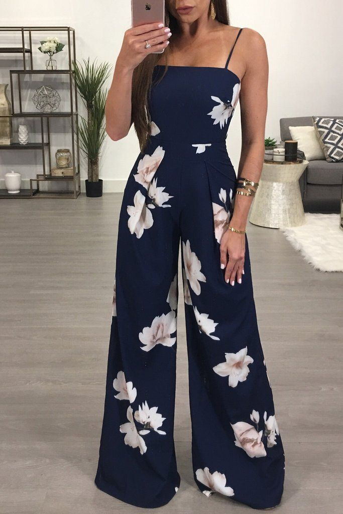 Flower Print Casual Loose Jumpsuits with Straps for Women A8157 ... ec308e0067