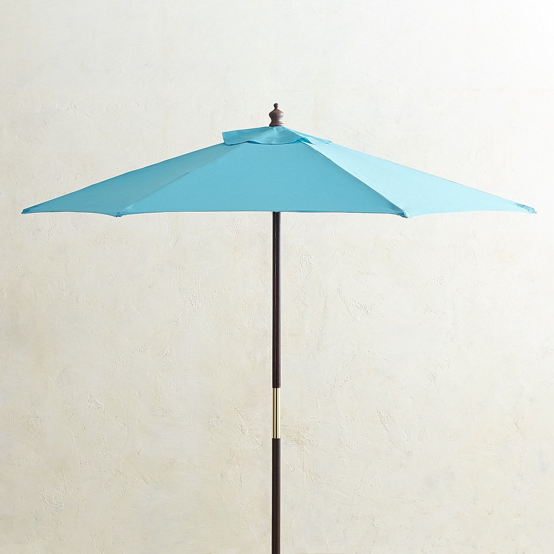 7u0027 Turquoise Wood Umbrella
