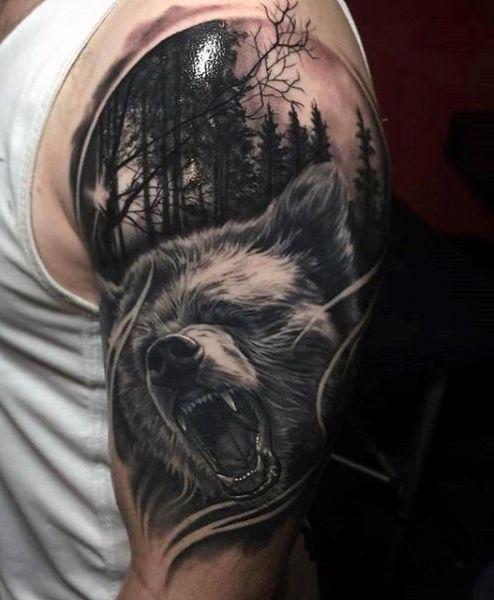 60 Bear Tattoo Designs For Men Masculine Mauling Machine Forest Tattoos Bear Tattoo Designs Bear Tattoos
