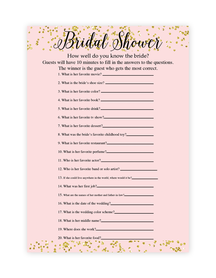 free printable bridal shower games how well do you know With templates for bridal shower games