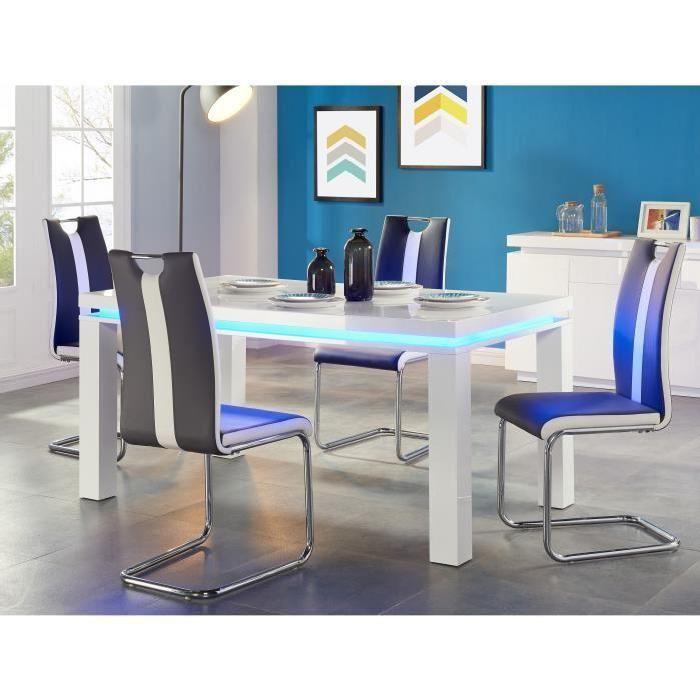 FLASH Table à manger avec LED bleue 6 personnes 160x90 cm - Laqué