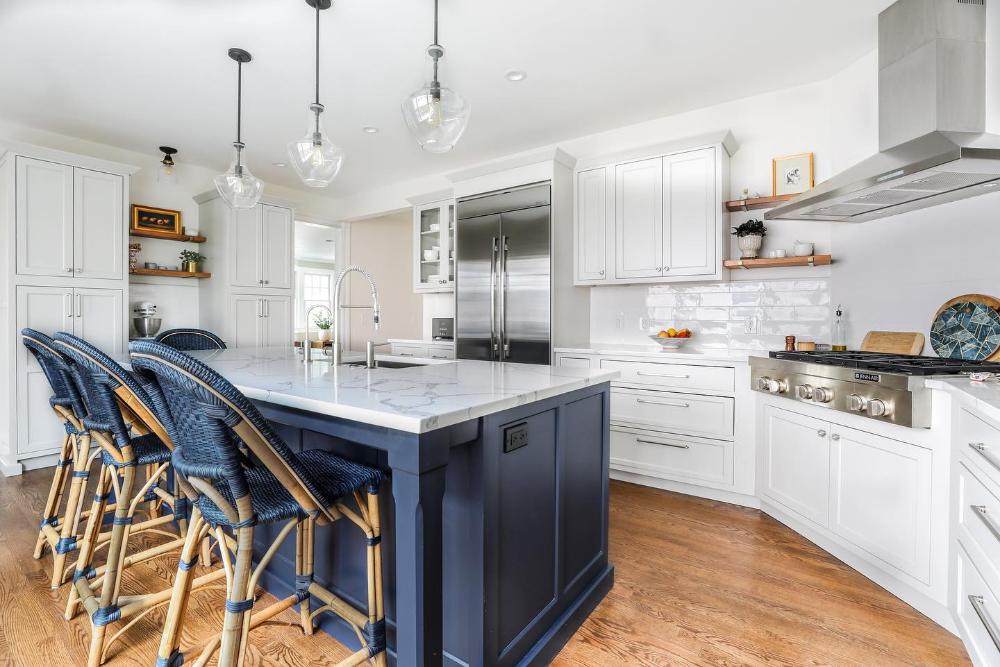 Sunwashed Riviera Counter Stool In 2020 Farmhouse Kitchen Design Minimalist Kitchen Design Blue Kitchen Island