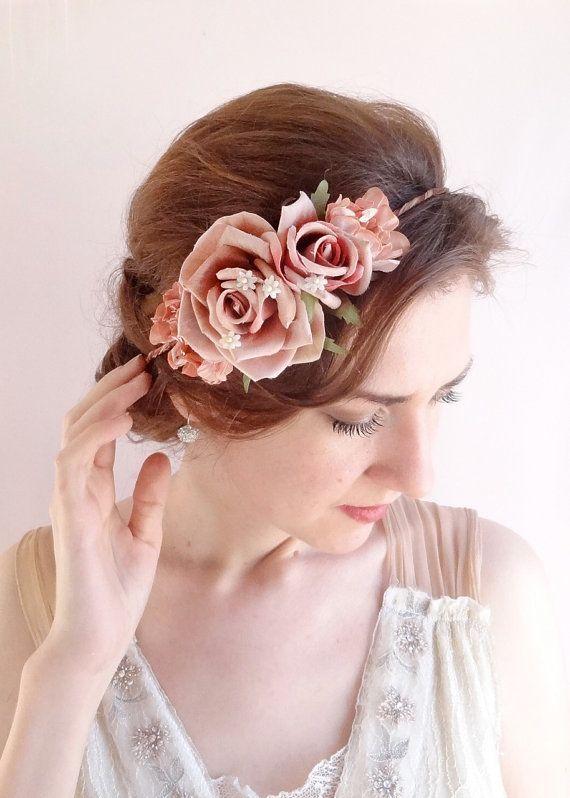 Corona di fiori, corona di fiori, matrimonio copricapo, copricapo floreale rosa polveroso, fiore matrimonio corona, malva matrimonio, copricapo rosa scuro