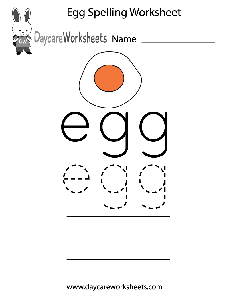 Learn and practice how to spell the word egg using this printable – Kindergarten Spelling Worksheets Free Printables