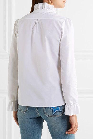 e9eaf68e192f0 See by Chloé - Ruffle-trimmed Smocked Cotton-poplin Shirt - White - FR
