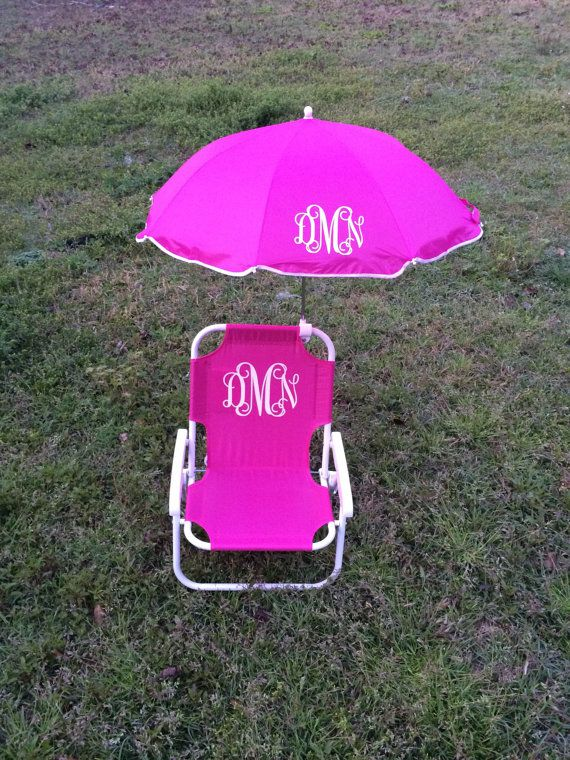 Monogrammed Kids beach chair with umbrella by