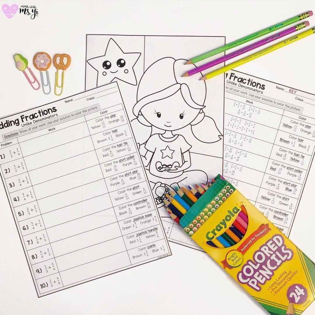 Adding Fractions Coloring Activity