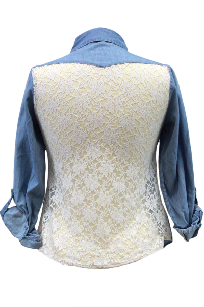 Chambray Button Down Shirt With Floral Lace Back