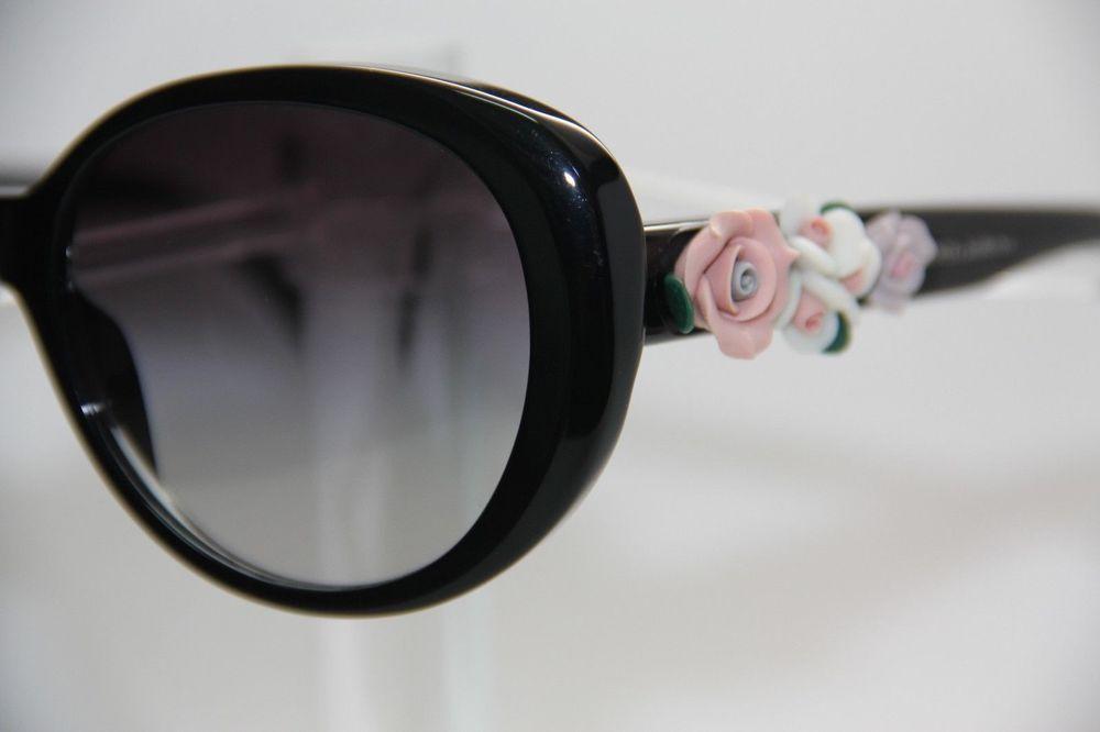 8e11c1e6fc25 Authentic DOLCE GABBANA DG ROSE Flower Sunglasses Black PINK WHITE GC   DolceGabbana