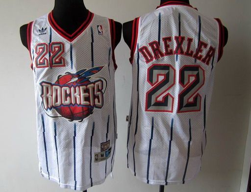Adidas Houston Rockets  22 Clyde Drexler White NBA Jerseys-td  b1144cbca