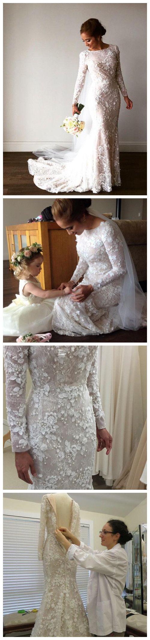 Modest long sleeve lace wedding dresses  Gorgeous Lace Mermaid Wedding Dresses With Long Sleeves Chapel Train
