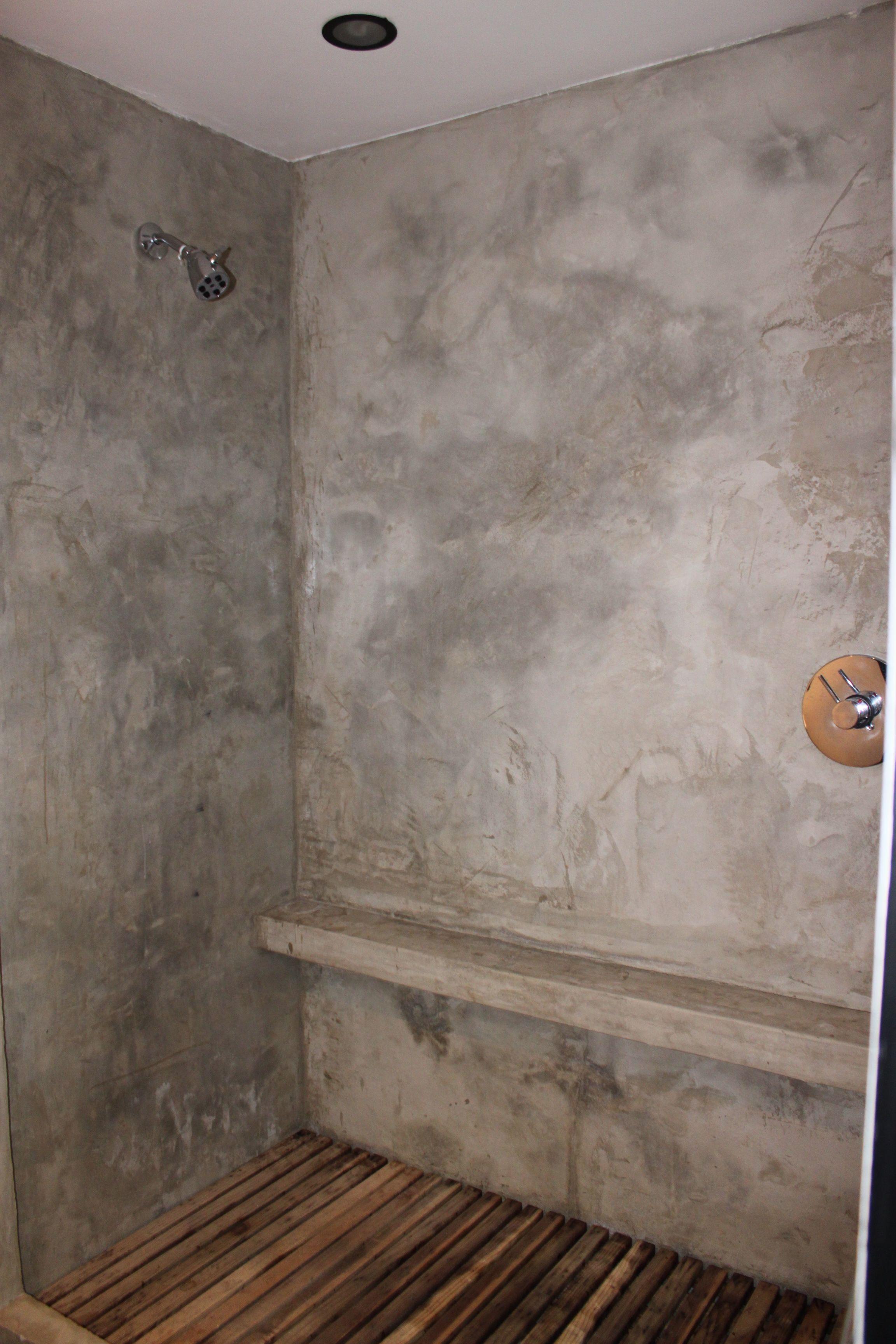 Concrete shower with concrete floor