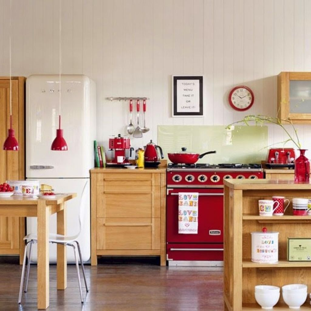 Kitchen With Modular Cabinets And Red Accents