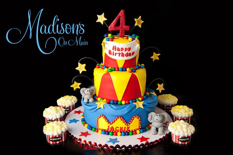 A circus themed cake I created for a special 4 year old little girl
