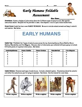 Early Humans Foldable Assessment Early Humans Early Humans Unit 6th Grade Social Studies