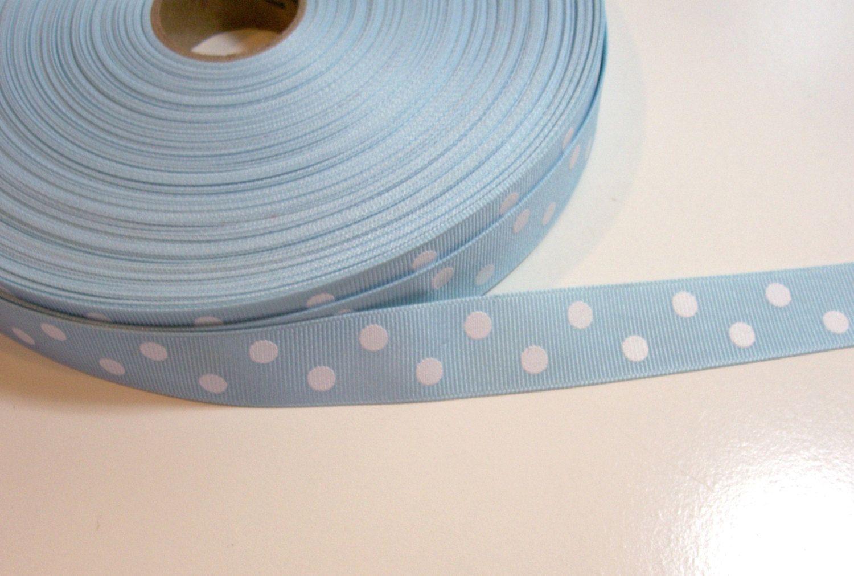 Blue ribbon light blue and white polka dot grosgrain ribbon 7 8