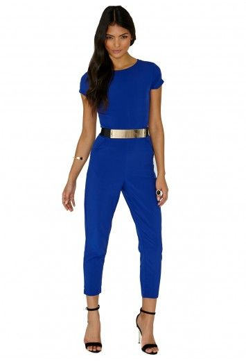 854d1402c432 Missguided - Polly Blue Belted Jumpsuit
