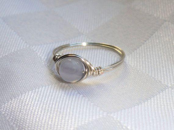 Silber Draht umwickelt Ring mit blauer Spitze Achat Edelstein ...
