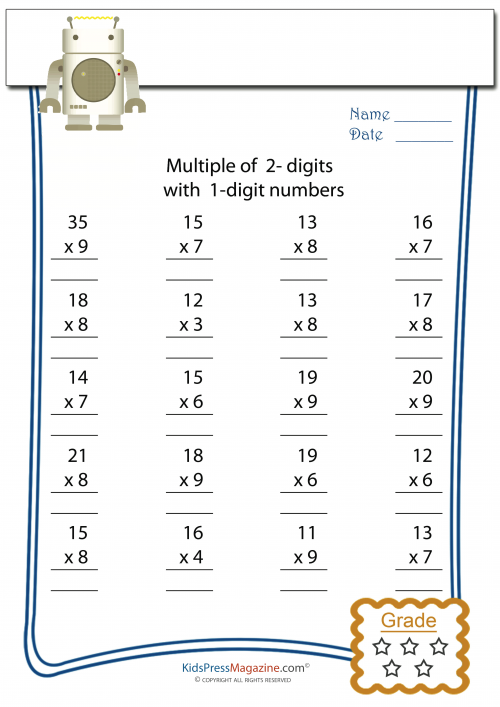 Multiplication Worksheet 2 Digit times 1 Digit 1 – Cool Math Worksheets for Kindergarten