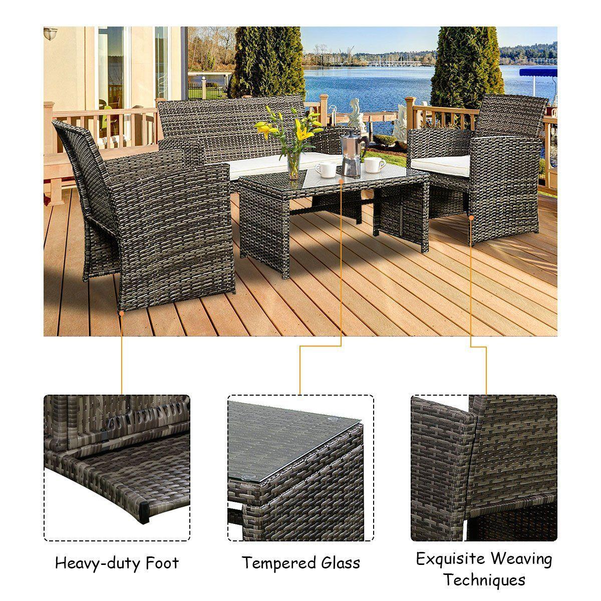 Goplus 4 Pc Rattan Patio Furniture Set Garden Lawn Sofa Cushioned Seat Wicker Sofa Mix Gray Patio Furnishings Outdoor Lounge Furniture Rattan Patio Furniture