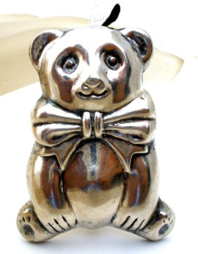 Sterling-Silver-Teddy-Bear-Brooch-Pendant-Necklace-Puffed-Repousse-Vintage-Pin