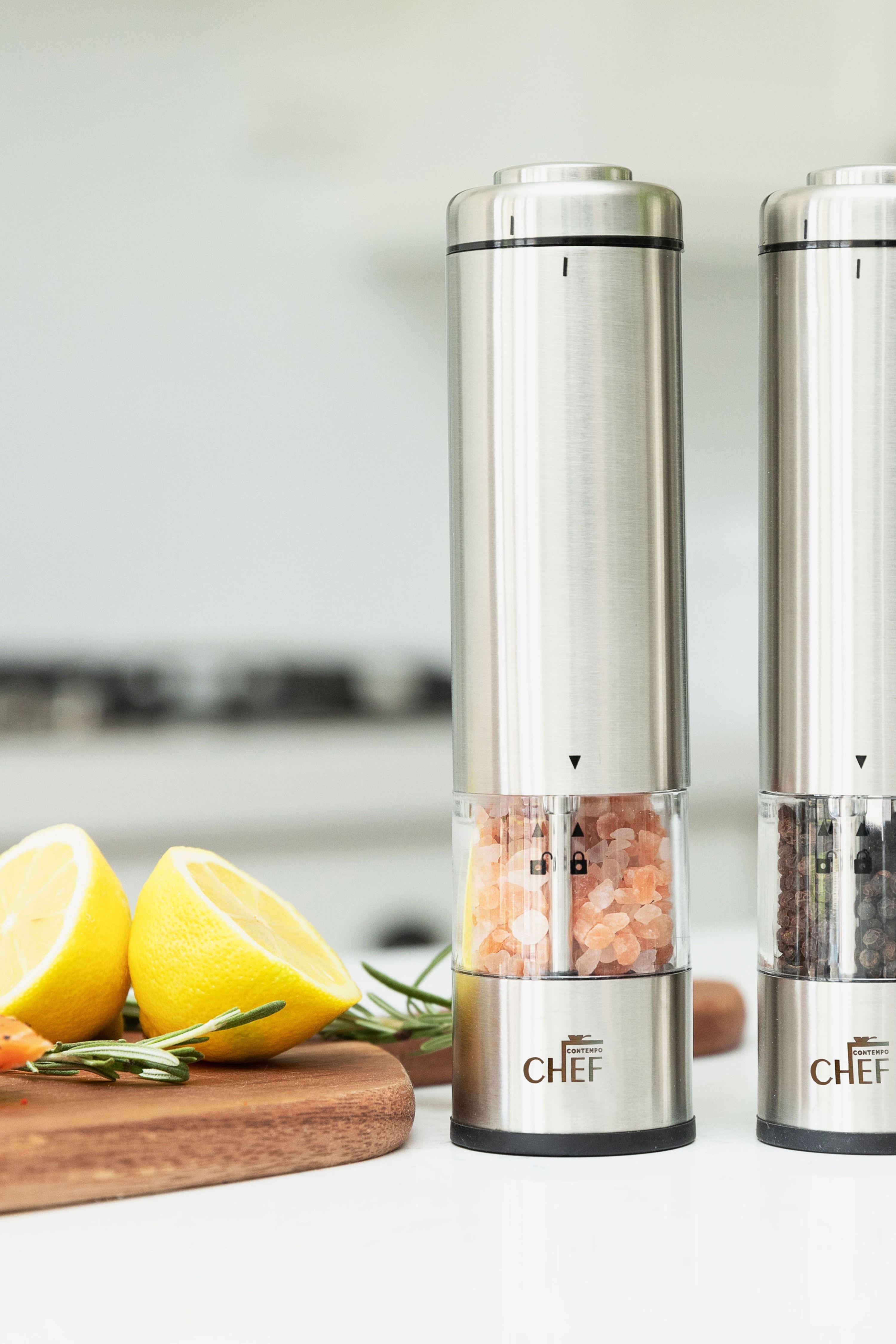 Battery Operated Gourmet Stainless Steel Salt /& Pepper Grinder Set
