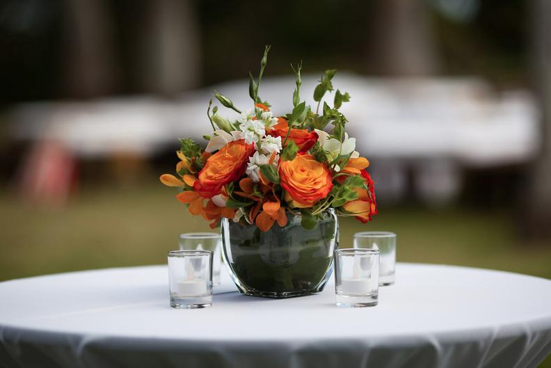 Orange White Green Floral Arrangement In Short Glass Vase
