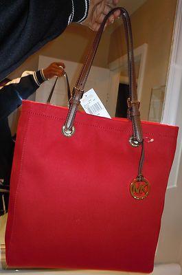 Michael Kors Red Canvas Tote 99 Ross Hobo Handbags