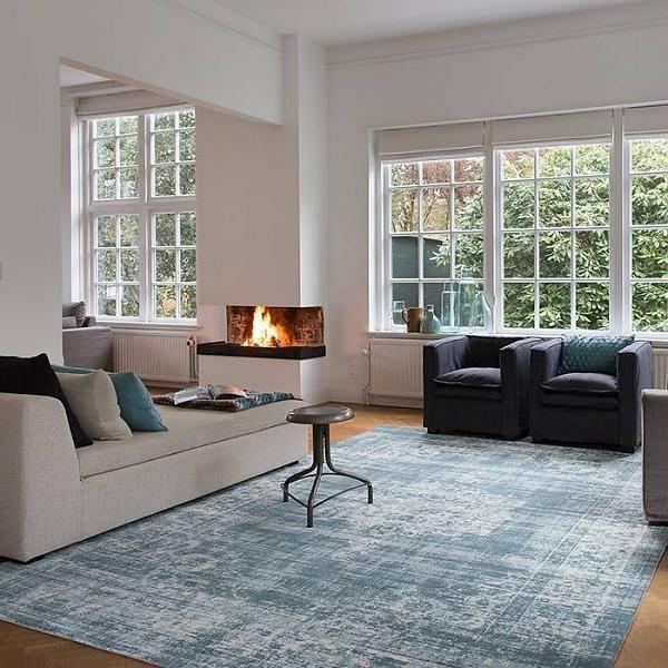 Vintage vloerkleed classic petrol blauw vloerkleden in Woonideeen woonkamer