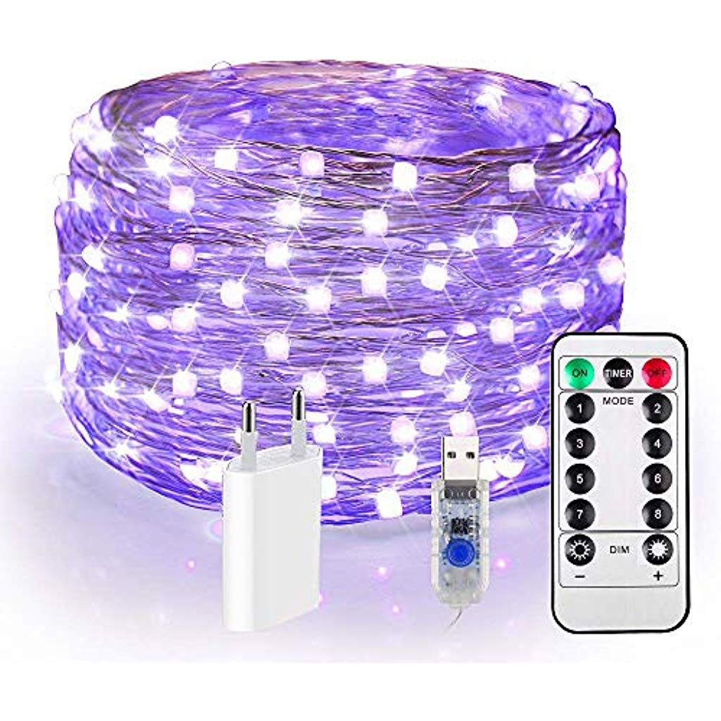 120er Led Uv Shwarzlicht Usb Lichterkette Dimmar 12m Uv Licht Ip65 Wasserdicht 8 Modi Fairy Lights Mit Fernbedienung Eu In 2020 Lichterkette Fernbedienung Beleuchtung