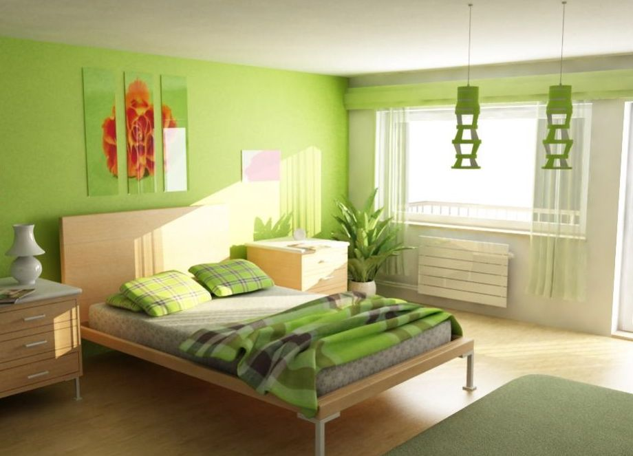 bedroom soft green comfortable bedroom design with cool decoration ...