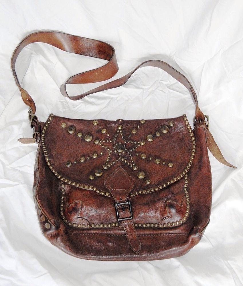 716297939a5c Vintage Double RL RRL Ralph Lauren Brown Studded Leather Messenger Bag   DoubleRLRRLRalphLauren  MessengerBags