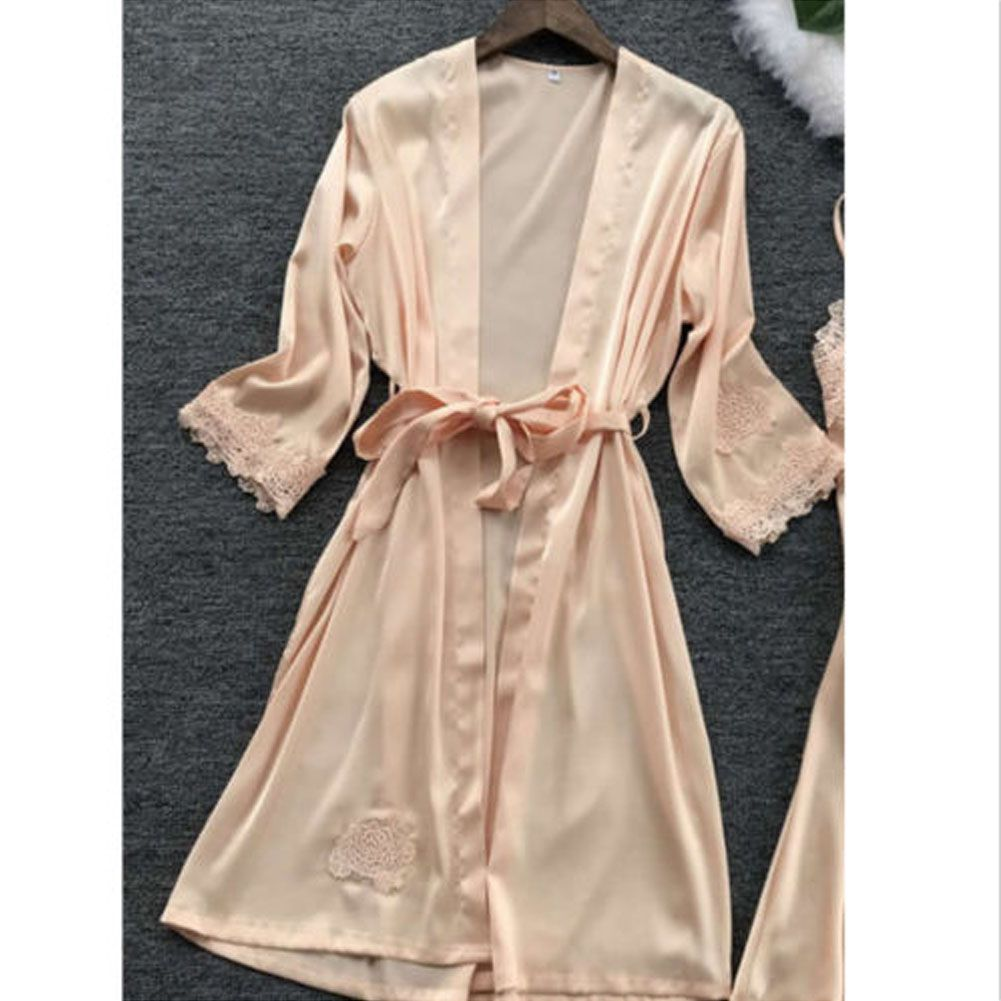 59aedfa62 Sexy Lingerie Women Silk Lace Robe Dress Babydoll Nightdress Sleepwear  Kimono Silk