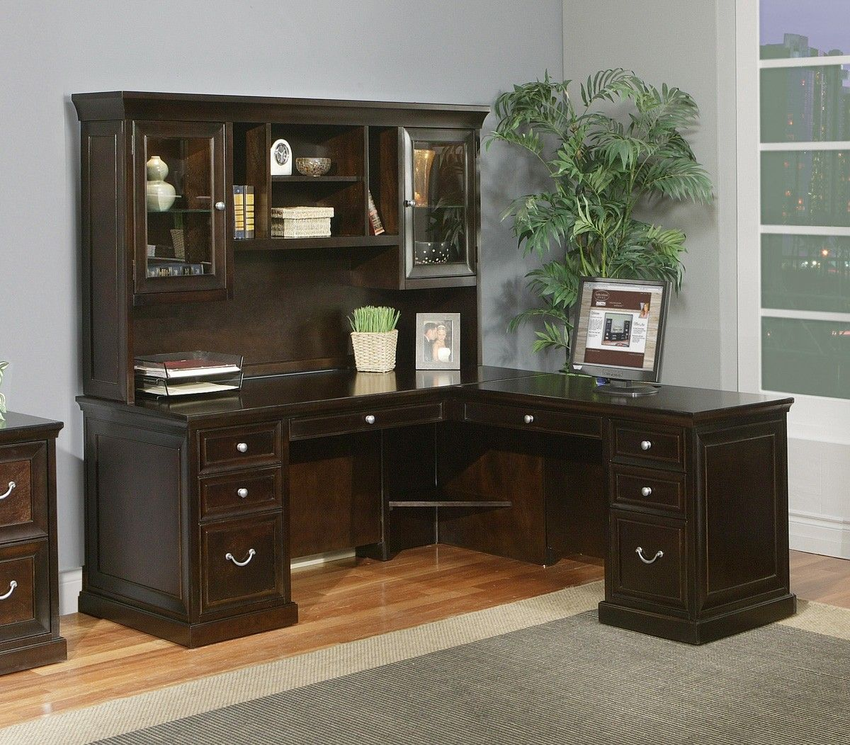 Kathy Ireland Home By Martin Fulton RHF L Shaped Executive Desk With Hutch  In Espresso     Lowest Price Online On All Kathy Ireland Home By Martin  Fulton ...