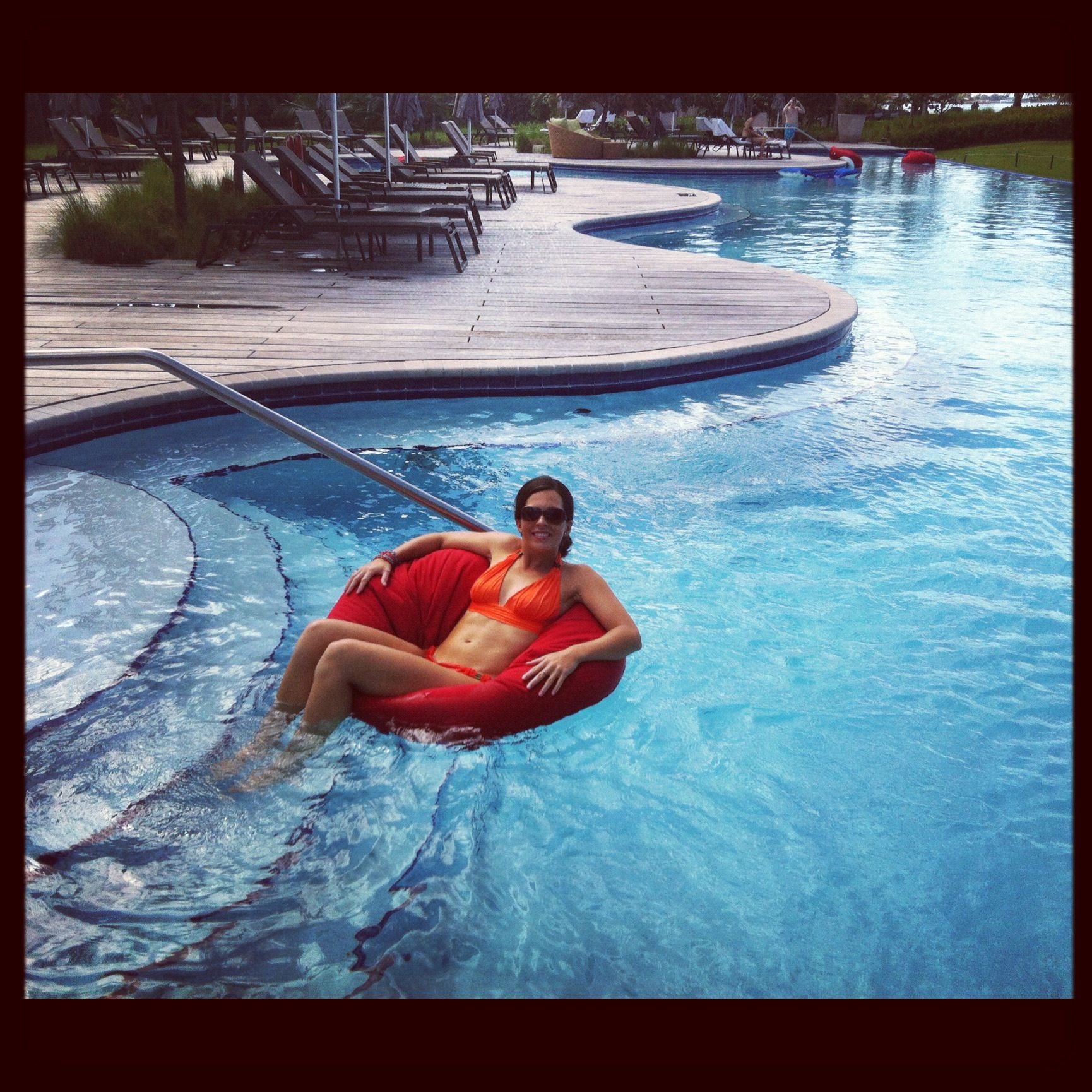 Take A Float Around Our Reflection Pool In A Bean Bag Pool Chair.