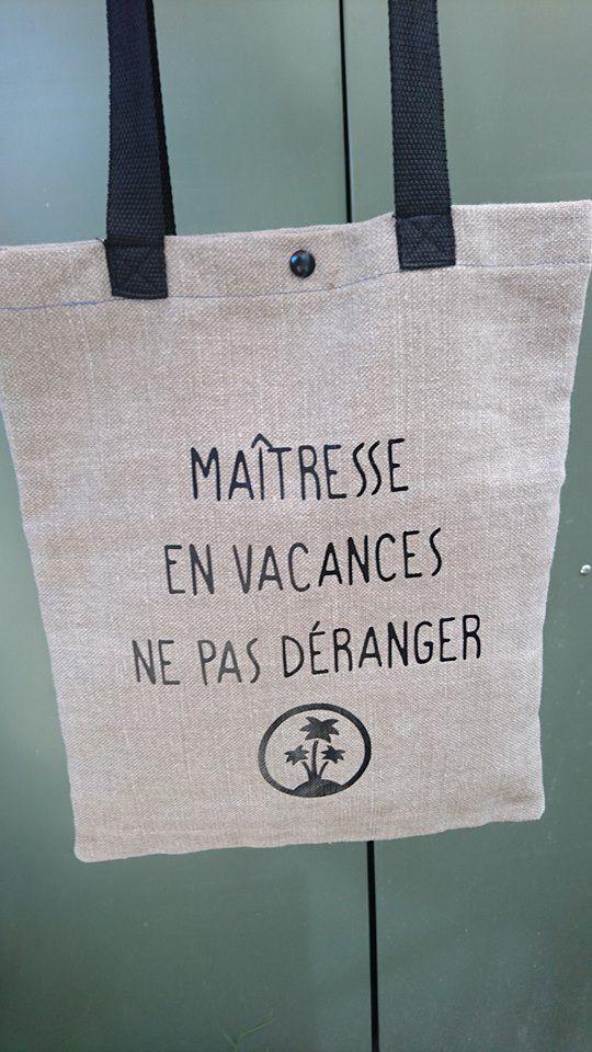 id e cadeau maitresse tote bag fait main toile coton et lin pais sacs main par aude kikou. Black Bedroom Furniture Sets. Home Design Ideas