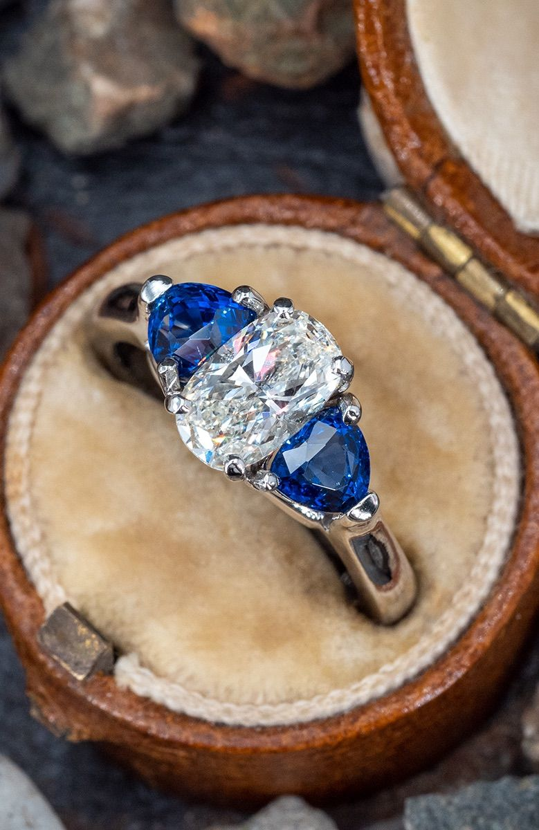 Elongated Cushion Diamond Engagement Ring w/ Blue