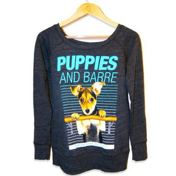 Puppies and Barre Wide Neck Sweatshirt